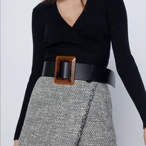 Zara tortoiseshell buckle belt